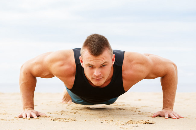 Three workout routines and muscles without specific sports equipment